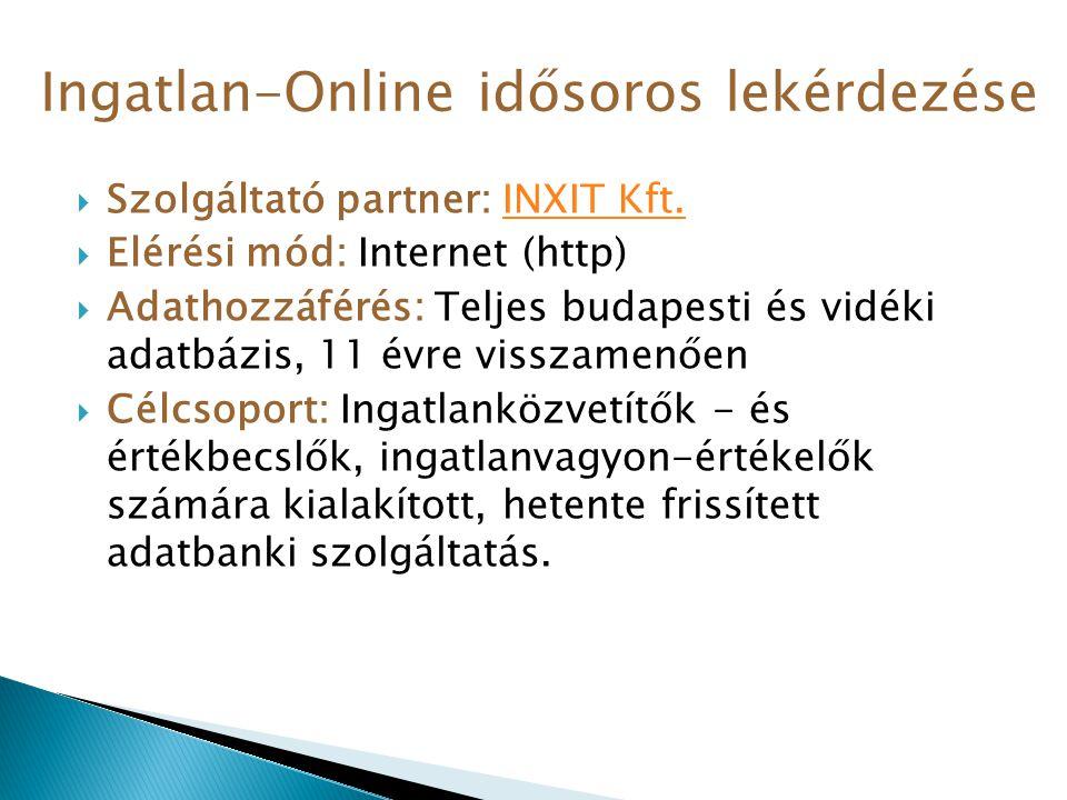  Szolgáltató partner: INXIT Kft.INXIT Kft.  Elérési mód: Internet (http)  Adathozzáférés: Teljes budapesti és vidéki adatbázis, 11 évre visszamenőe