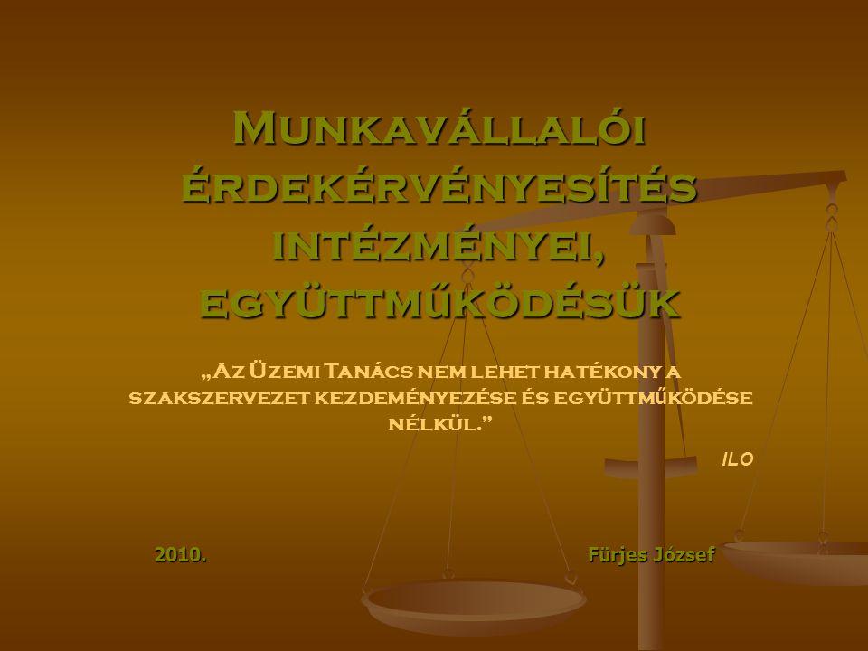 """Munkavállalói érdekérvényesítés intézményei, együttm ű ködésük 2010. Fürjes József """"Az Üzemi Tanács nem lehet hatékony a szakszervezet kezdeményezése"""