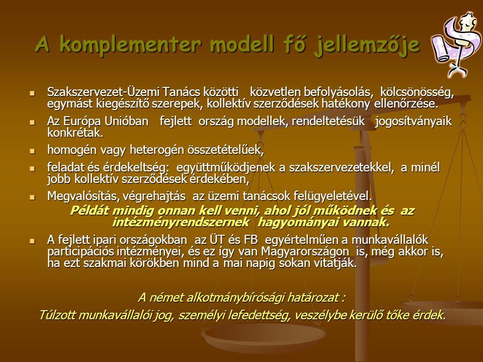 A komplementer modell fő jellemzője  Szakszervezet-Üzemi Tanács közötti közvetlen befolyásolás, kölcsönösség, egymást kiegészítő szerepek, kollektív