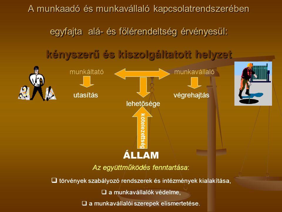 A munkaadó és munkavállaló kapcsolatrendszerében egyfajta alá- és fölérendeltség érvényesül: kényszerű és kiszolgáltatott helyzet utasítás végrehajtás