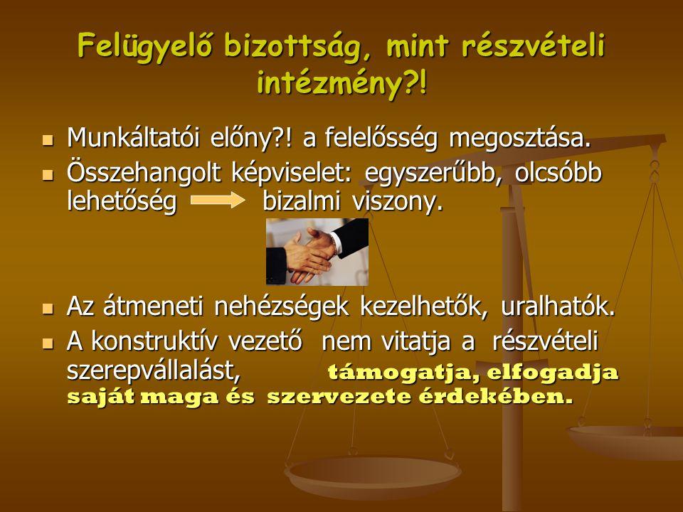 Felügyelő bizottság, mint részvételi intézmény?!  Munkáltatói előny?! a felelősség megosztása.  Összehangolt képviselet: egyszerűbb, olcsóbb lehetős
