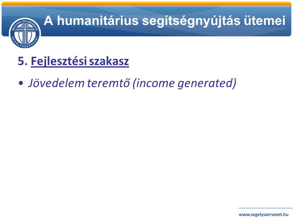 A humanitárius segítségnyújtás ütemei 5. Fejlesztési szakasz •Jövedelem teremtő (income generated)
