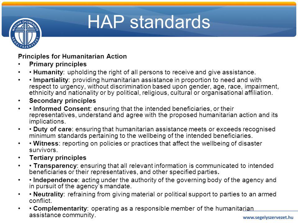 Code of conduct 1.Elsődleges a humanitárius kötelezettség.