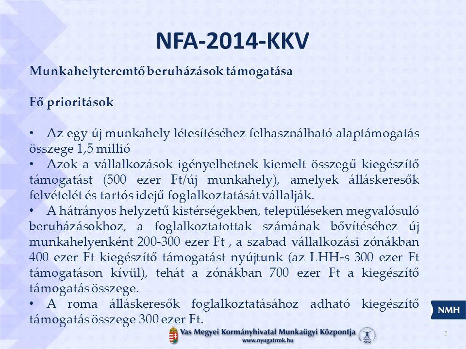 2 NFA-2014-KKV Munkahelyteremtő beruházások támogatása Fő prioritások • Az egy új munkahely létesítéséhez felhasználható alaptámogatás összege 1,5 millió • Azok a vállalkozások igényelhetnek kiemelt összegű kiegészítő támogatást (500 ezer Ft/új munkahely), amelyek álláskeresők felvételét és tartós idejű foglalkoztatását vállalják.