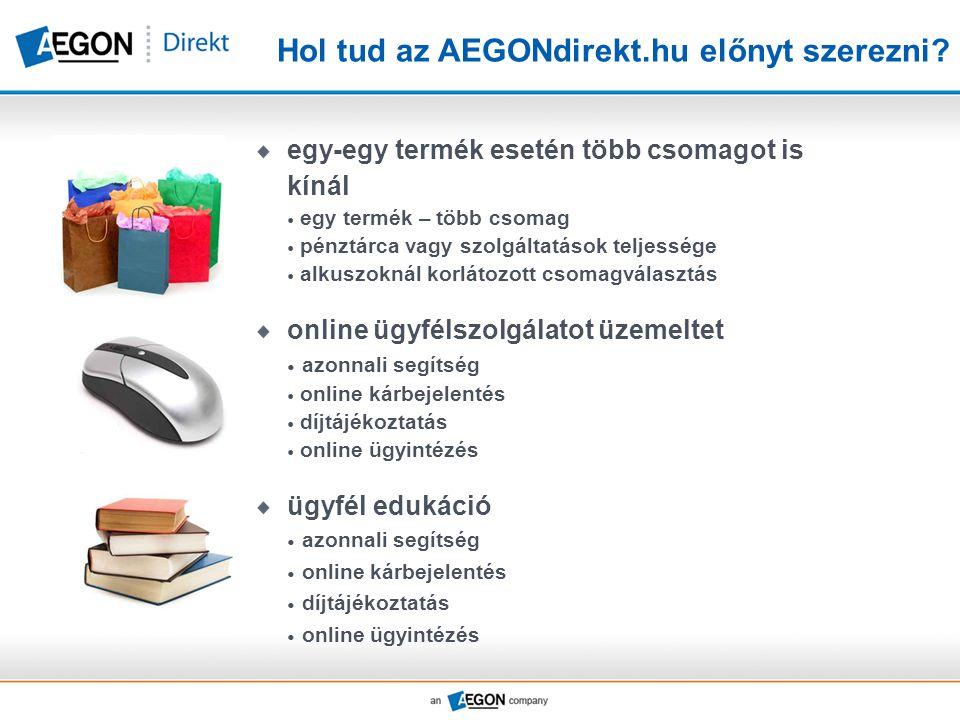 Hol tud az AEGONdirekt.hu előnyt szerezni? egy-egy termék esetén több csomagot is kínál  egy termék – több csomag  pénztárca vagy szolgáltatások tel