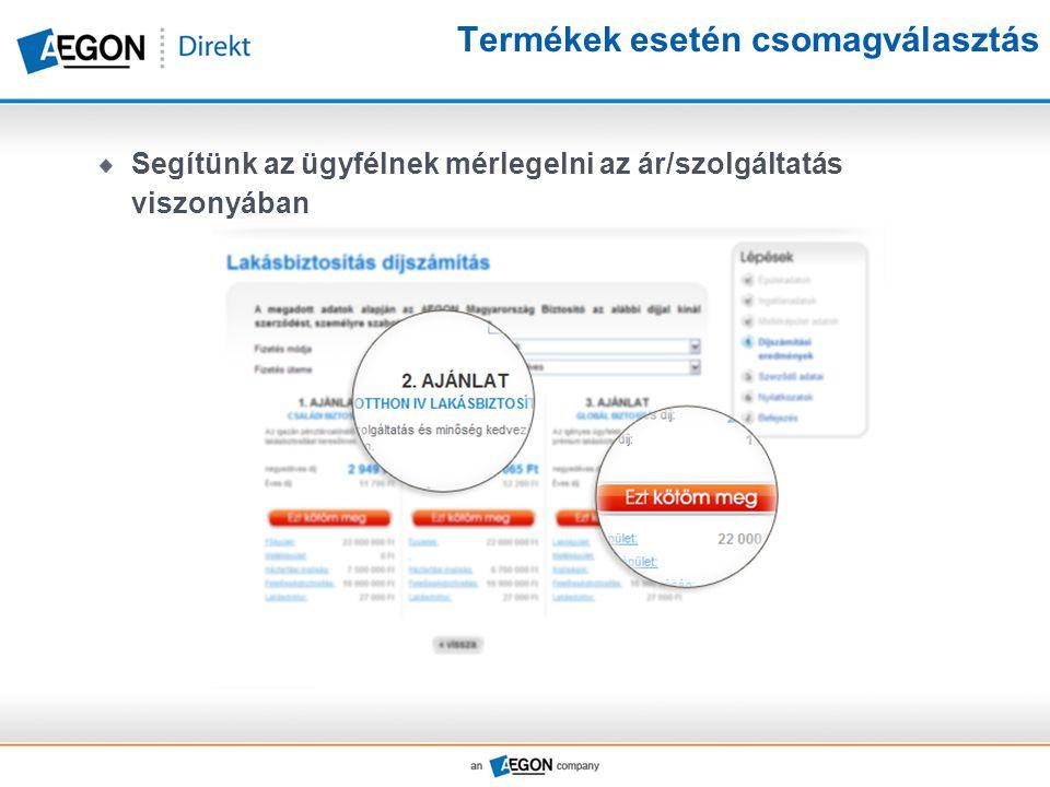 Termékek esetén csomagválasztás Segítünk az ügyfélnek mérlegelni az ár/szolgáltatás viszonyában