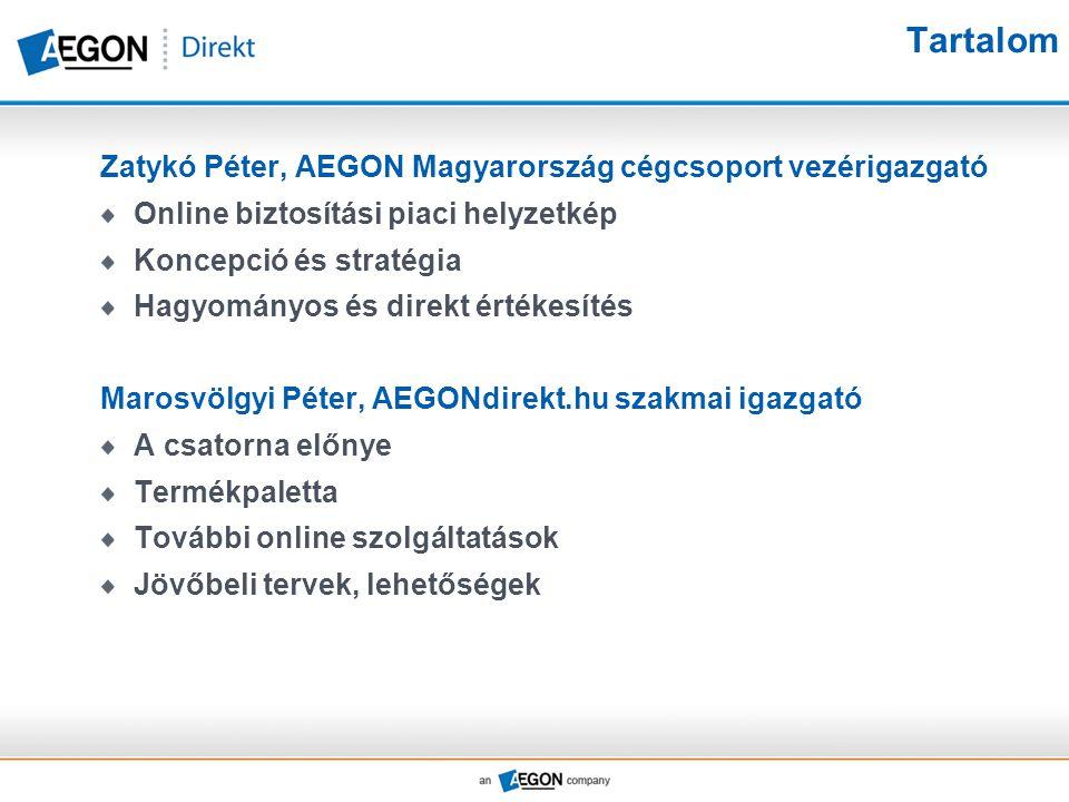 Tartalom Zatykó Péter, AEGON Magyarország cégcsoport vezérigazgató Online biztosítási piaci helyzetkép Koncepció és stratégia Hagyományos és direkt ér