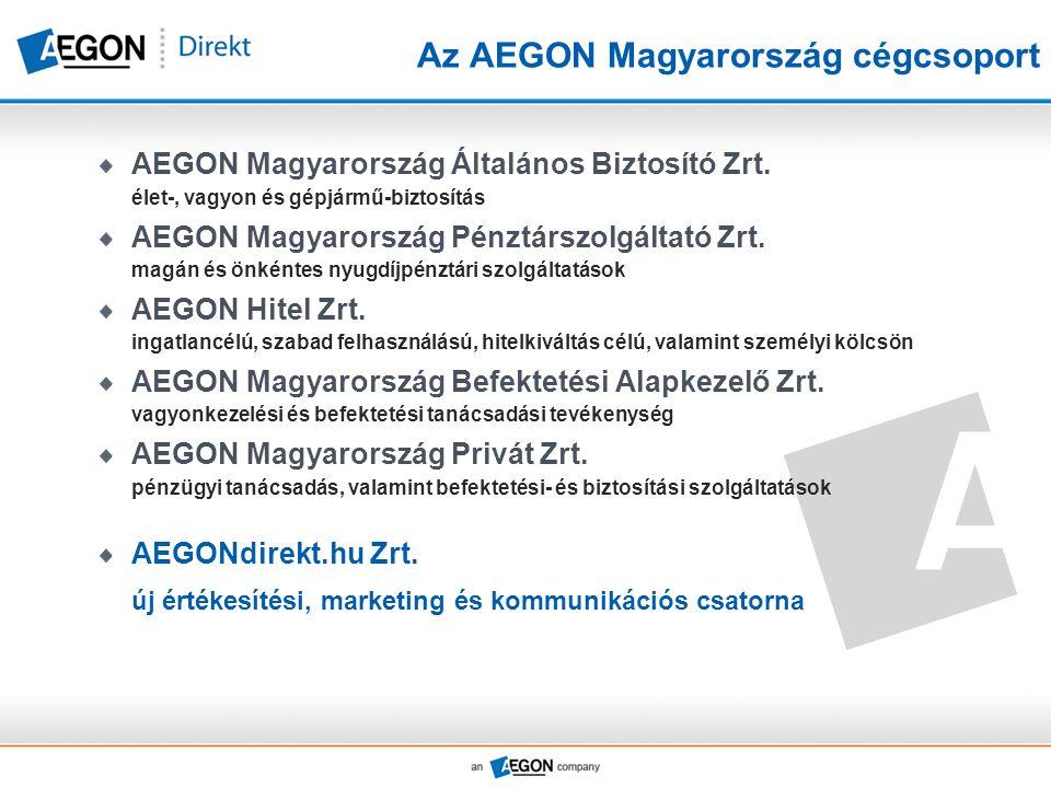 Az AEGON Magyarország cégcsoport AEGON Magyarország Általános Biztosító Zrt. élet-, vagyon és gépjármű-biztosítás AEGON Magyarország Pénztárszolgáltat