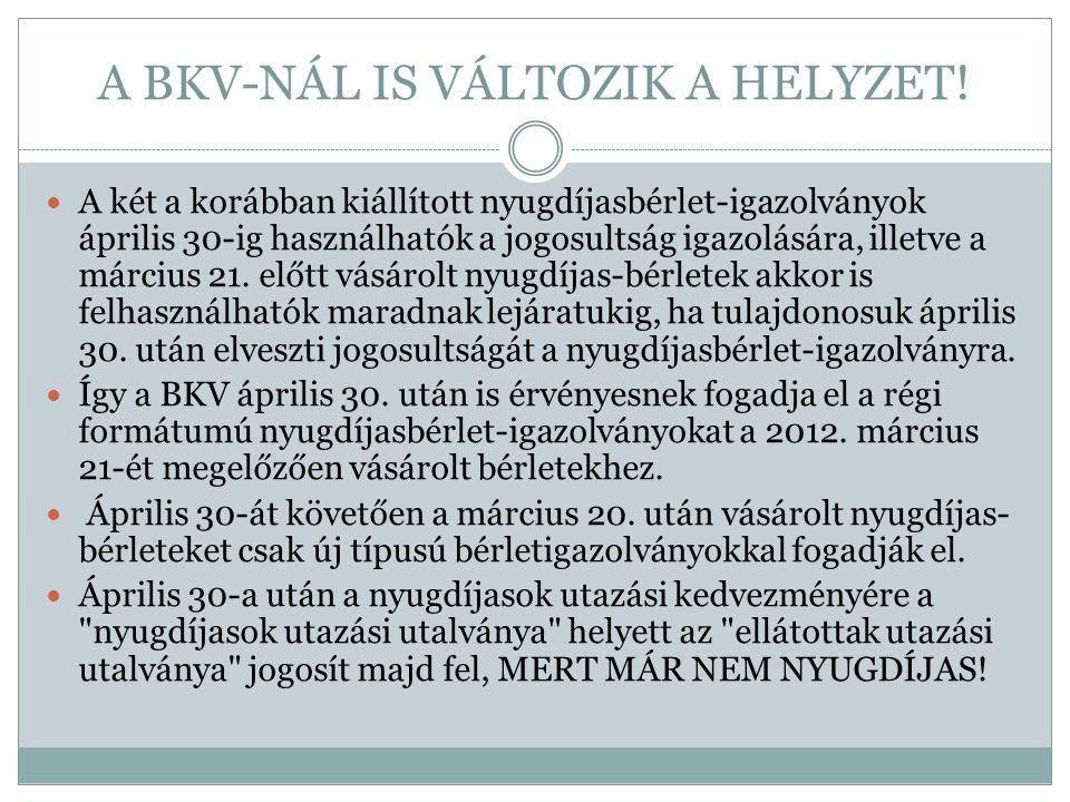A BKV-NÁL IS VÁLTOZIK A HELYZET!  A két a korábban kiállított nyugdíjasbérlet-igazolványok április 30-ig használhatók a jogosultság igazolására, ille