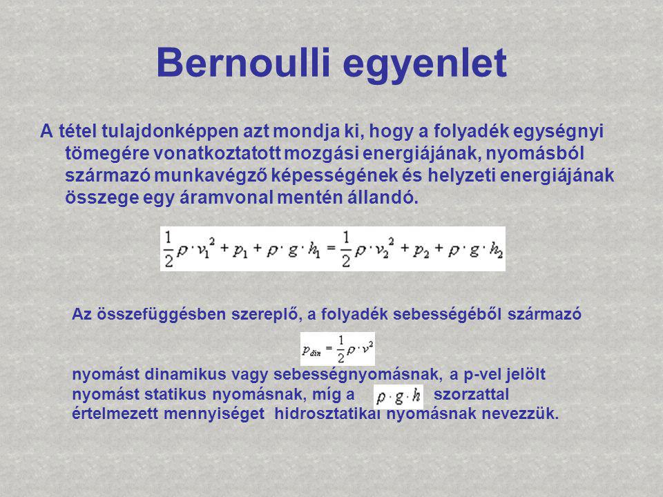 Bernoulli egyenlet A tétel tulajdonképpen azt mondja ki, hogy a folyadék egységnyi tömegére vonatkoztatott mozgási energiájának, nyomásból származó mu