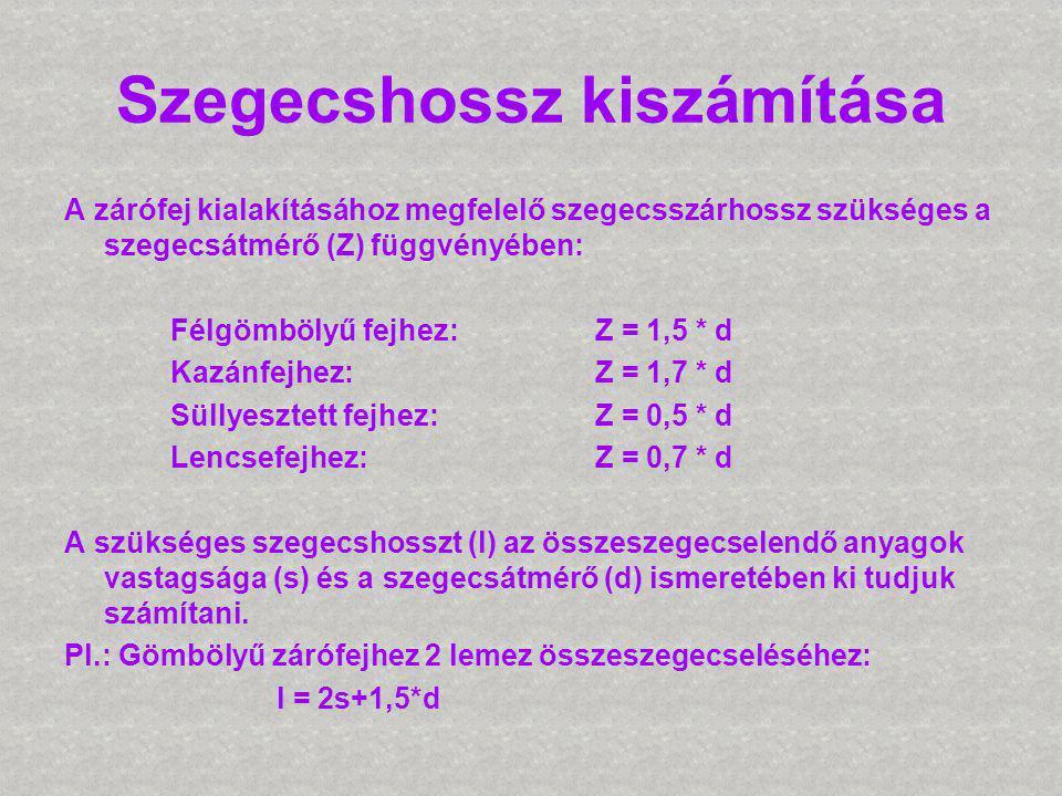 Szegecshossz kiszámítása A zárófej kialakításához megfelelő szegecsszárhossz szükséges a szegecsátmérő (Z) függvényében: Félgömbölyű fejhez: Z = 1,5 *