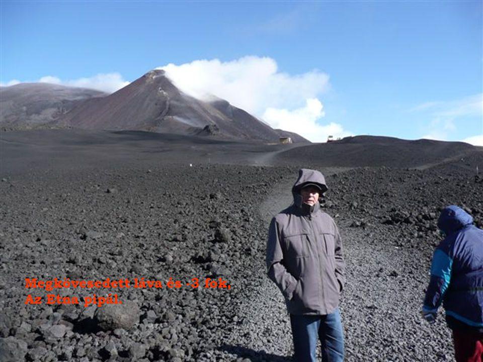 Majd terepjáró kisbusszal 2920 méter magasra jutunk az Etna 3369 m magas csúcsa alá.