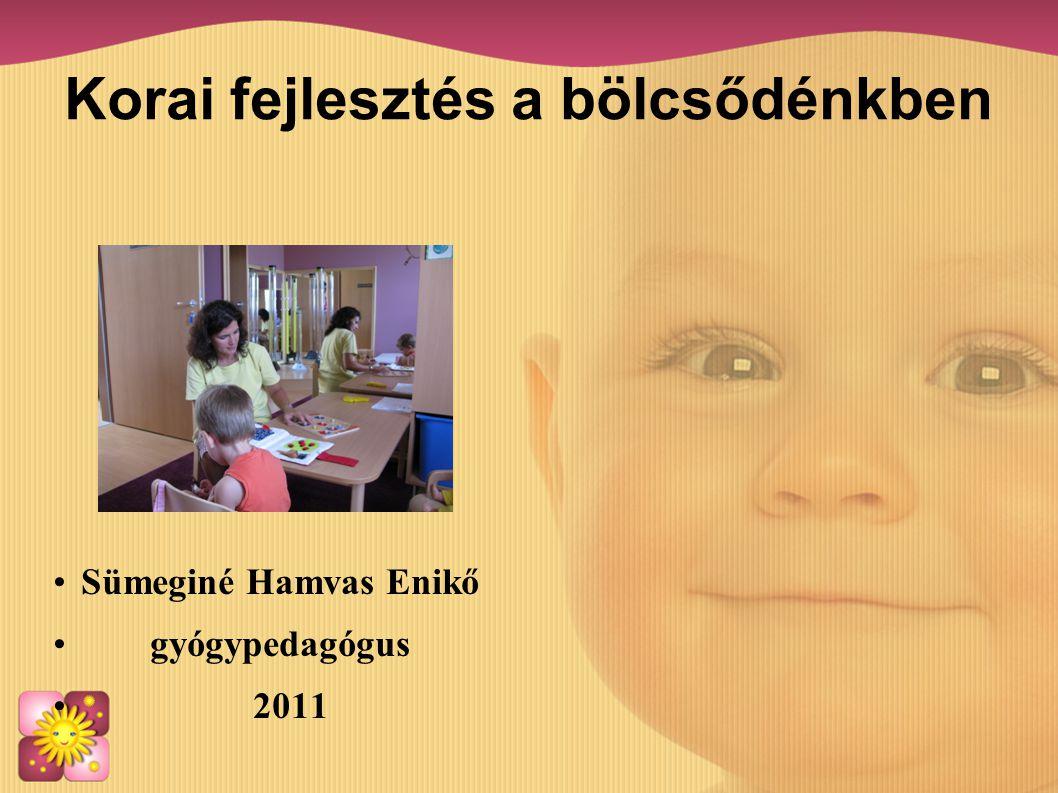 Korai fejlesztés a bölcsődénkben •Sümeginé Hamvas Enikő •gyógypedagógus • 2011