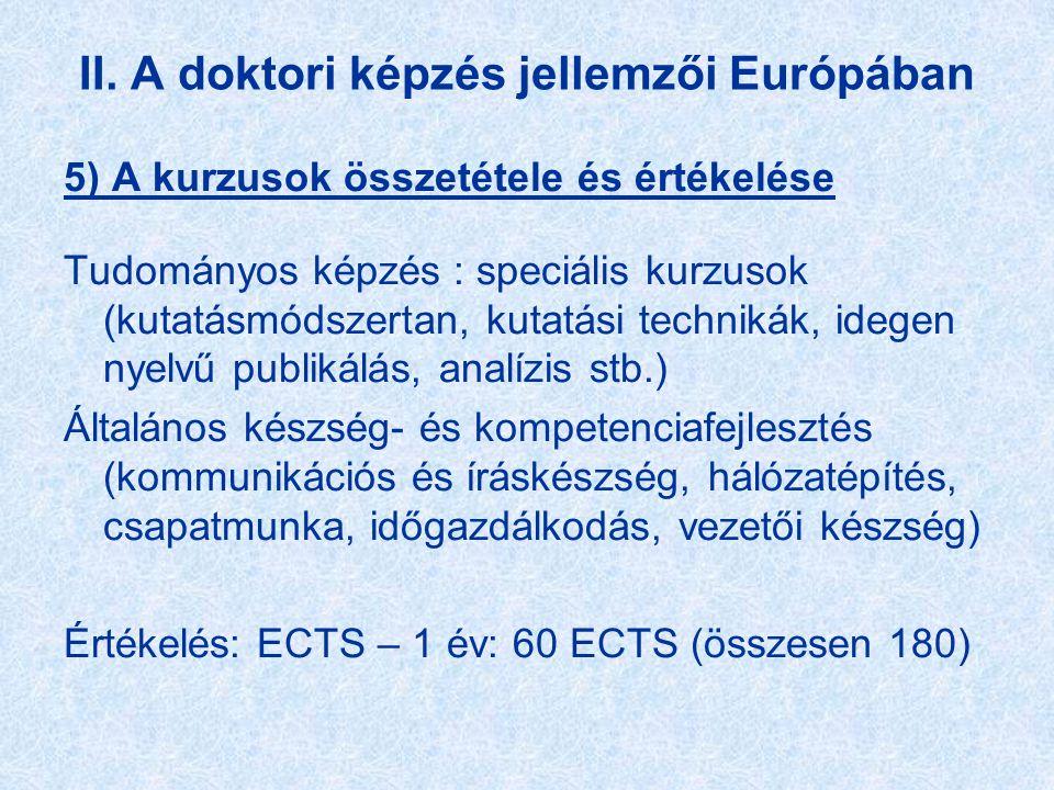 II. A doktori képzés jellemzői Európában 5) A kurzusok összetétele és értékelése Tudományos képzés : speciális kurzusok (kutatásmódszertan, kutatási t