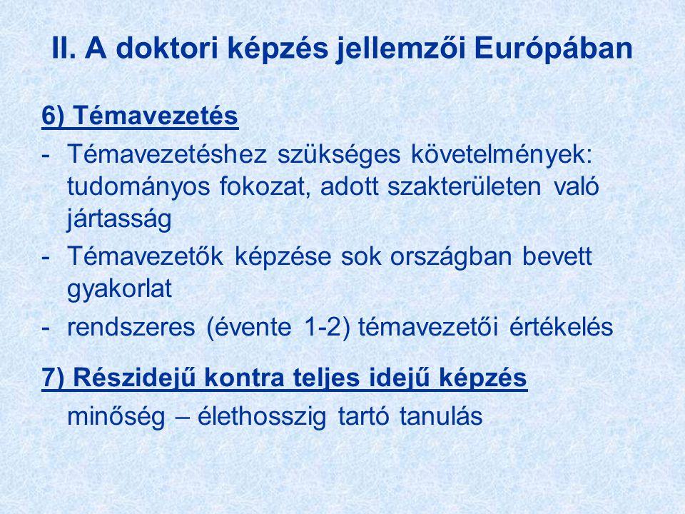 II. A doktori képzés jellemzői Európában 6) Témavezetés -Témavezetéshez szükséges követelmények: tudományos fokozat, adott szakterületen való jártassá