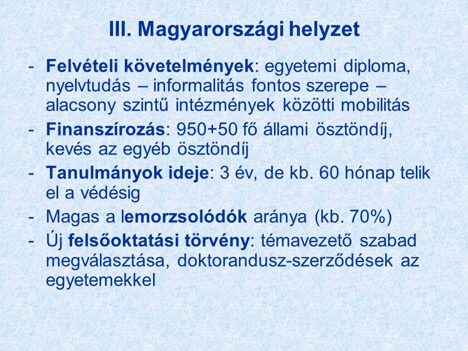 III. Magyarországi helyzet -Felvételi követelmények: egyetemi diploma, nyelvtudás – informalitás fontos szerepe – alacsony szintű intézmények közötti