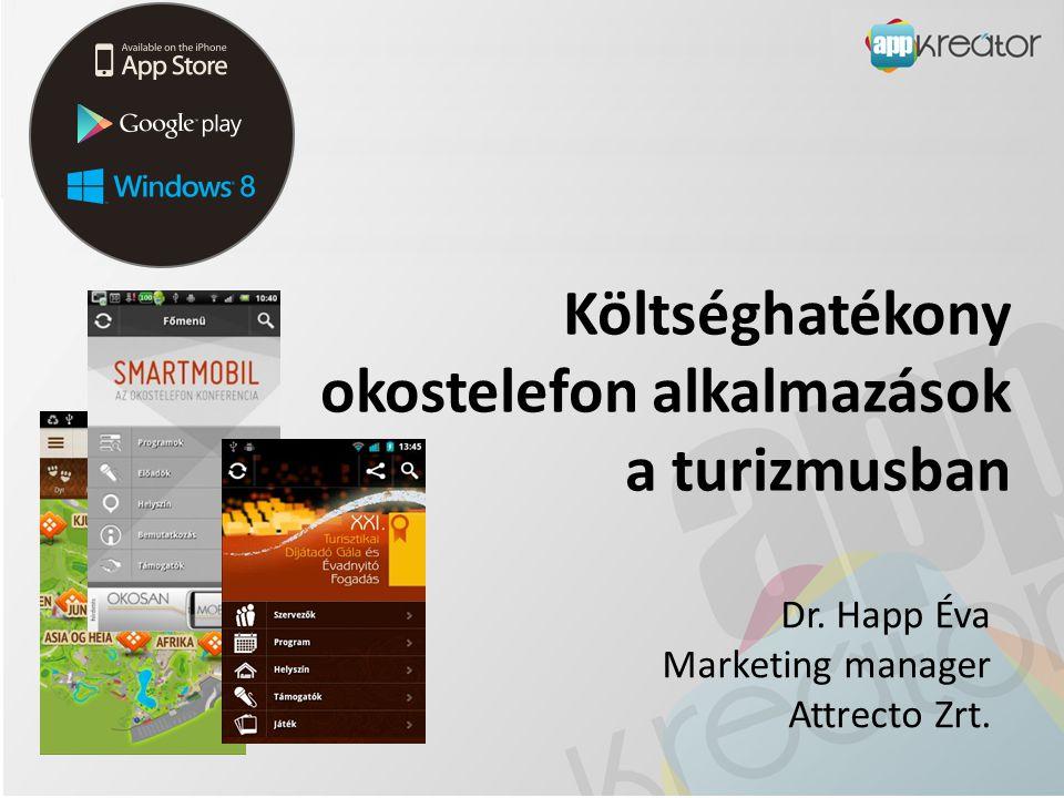 Költséghatékony okostelefon alkalmazások a turizmusban Dr. Happ Éva Marketing manager Attrecto Zrt.