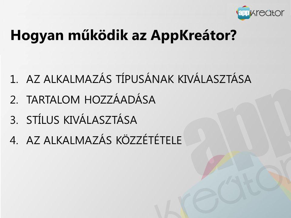 Hogyan működik az AppKreátor? 1.AZ ALKALMAZÁS TÍPUSÁNAK KIVÁLASZTÁSA 2.TARTALOM HOZZÁADÁSA 3.STÍLUS KIVÁLASZTÁSA 4.AZ ALKALMAZÁS KÖZZÉTÉTELE