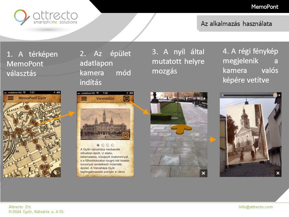Az alkalmazás használata Attrecto Zrt. H-9024 Győr, Kálvária u. 4-10. info@attrecto.com MemoPont 1. A térképen MemoPont választás 2. Az épület adatlap