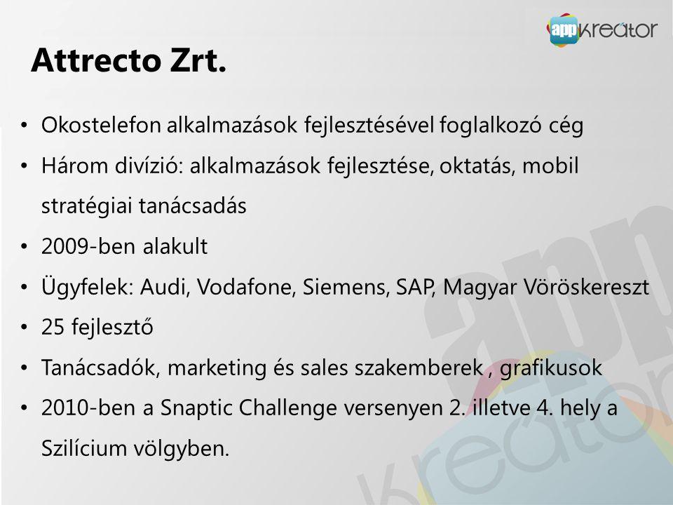 Attrecto Zrt. • Okostelefon alkalmazások fejlesztésével foglalkozó cég • Három divízió: alkalmazások fejlesztése, oktatás, mobil stratégiai tanácsadás