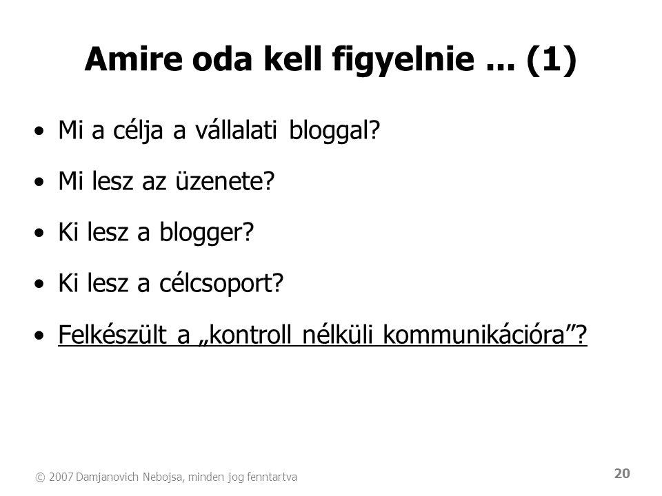© 2007 Damjanovich Nebojsa, minden jog fenntartva 20 Amire oda kell figyelnie... (1) •Mi a célja a vállalati bloggal? •Mi lesz az üzenete? •Ki lesz a