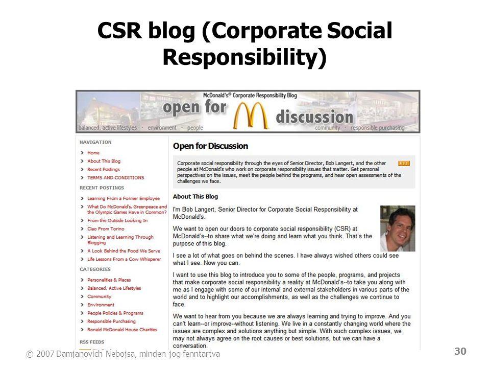 © 2007 Damjanovich Nebojsa, minden jog fenntartva 30 CSR blog (Corporate Social Responsibility)
