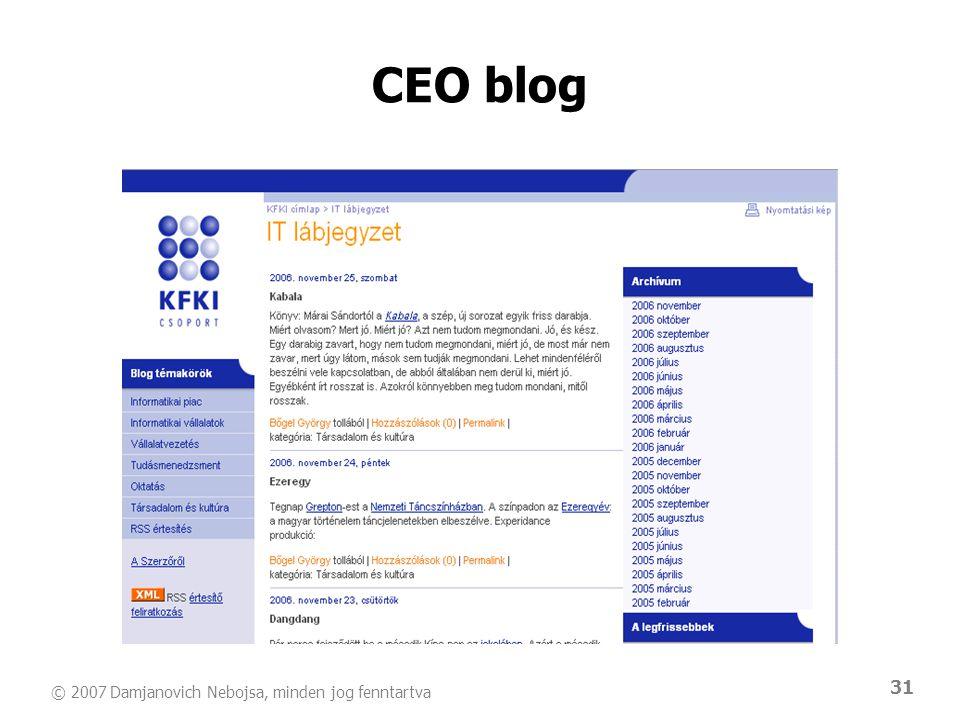 © 2007 Damjanovich Nebojsa, minden jog fenntartva 31 CEO blog