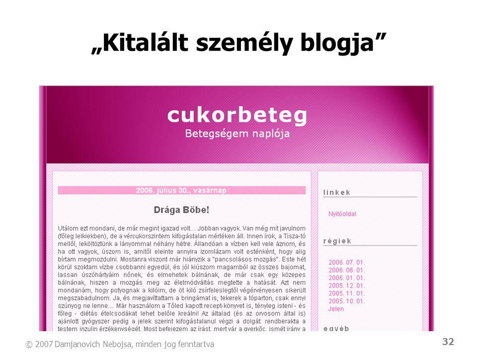 """© 2007 Damjanovich Nebojsa, minden jog fenntartva 32 """"Kitalált személy blogja"""