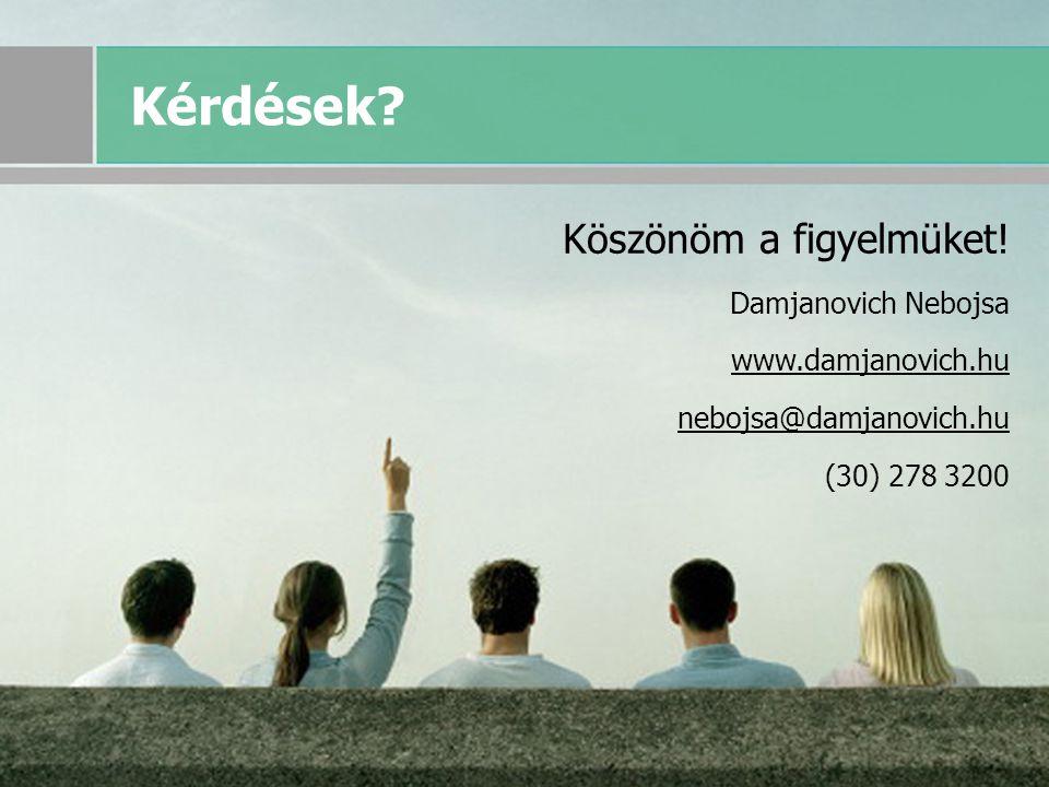 © 2007 Damjanovich Nebojsa, minden jog fenntartva 38 Kérdések? Köszönöm a figyelmüket! Damjanovich Nebojsa www.damjanovich.hu nebojsa@damjanovich.hu (