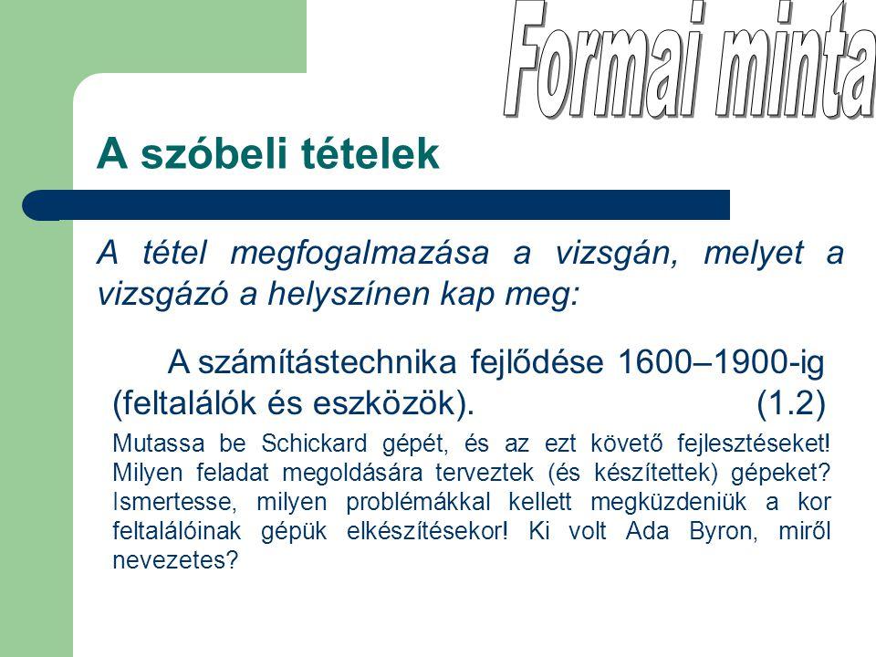 A tétel megfogalmazása a vizsgán, melyet a vizsgázó a helyszínen kap meg: A szóbeli tételek A számítástechnika fejlődése 1600–1900-ig (feltalálók és e