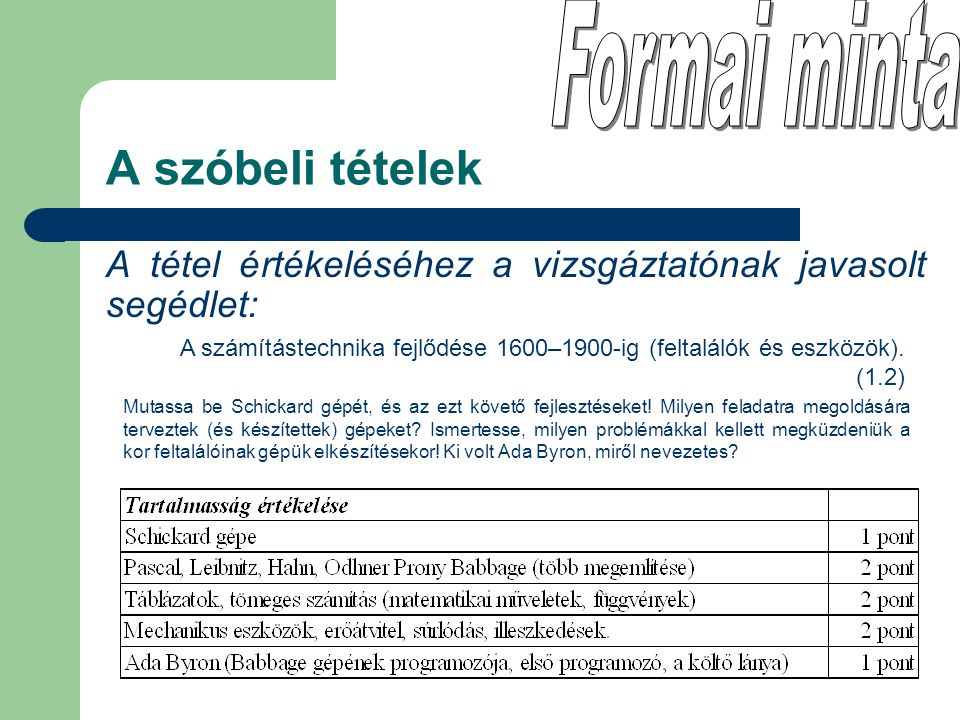 A tétel értékeléséhez a vizsgáztatónak javasolt segédlet: A szóbeli tételek A számítástechnika fejlődése 1600–1900-ig (feltalálók és eszközök). (1.2)