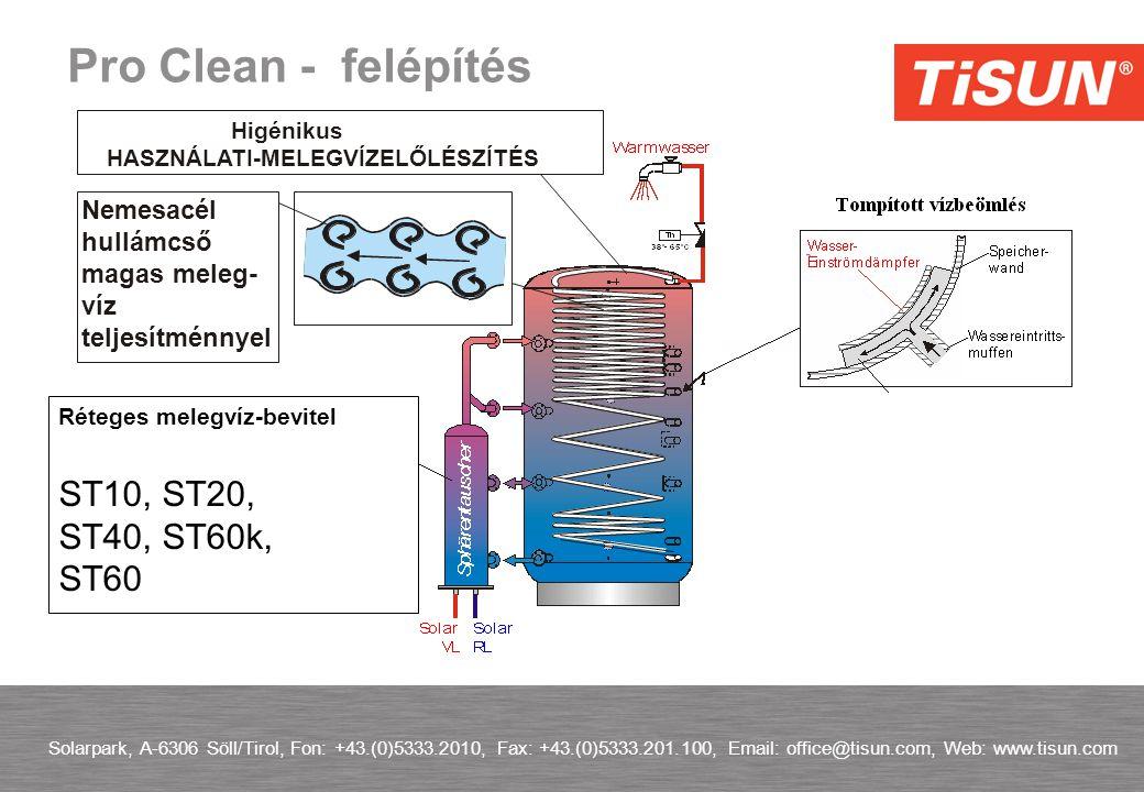 Solarpark, A-6306 Söll/Tirol, Fon: +43.(0)5333.2010, Fax: +43.(0)5333.201.100, Email: office@tisun.com, Web: www.tisun.com Pro Clean - felépítés Réteges melegvíz-bevitel ST10, ST20, ST40, ST60k, ST60 Nemesacél hullámcső magas meleg- víz teljesítménnyel Higénikus HASZNÁLATI-MELEGVÍZELŐLÉSZÍTÉS