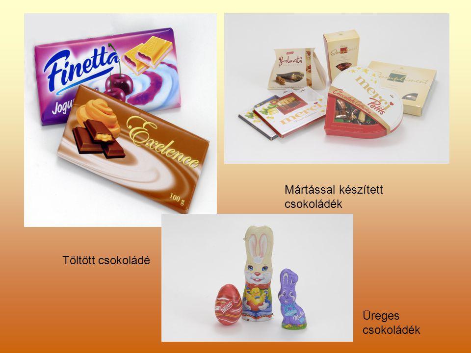 Töltött csokoládé Mártással készített csokoládék Üreges csokoládék