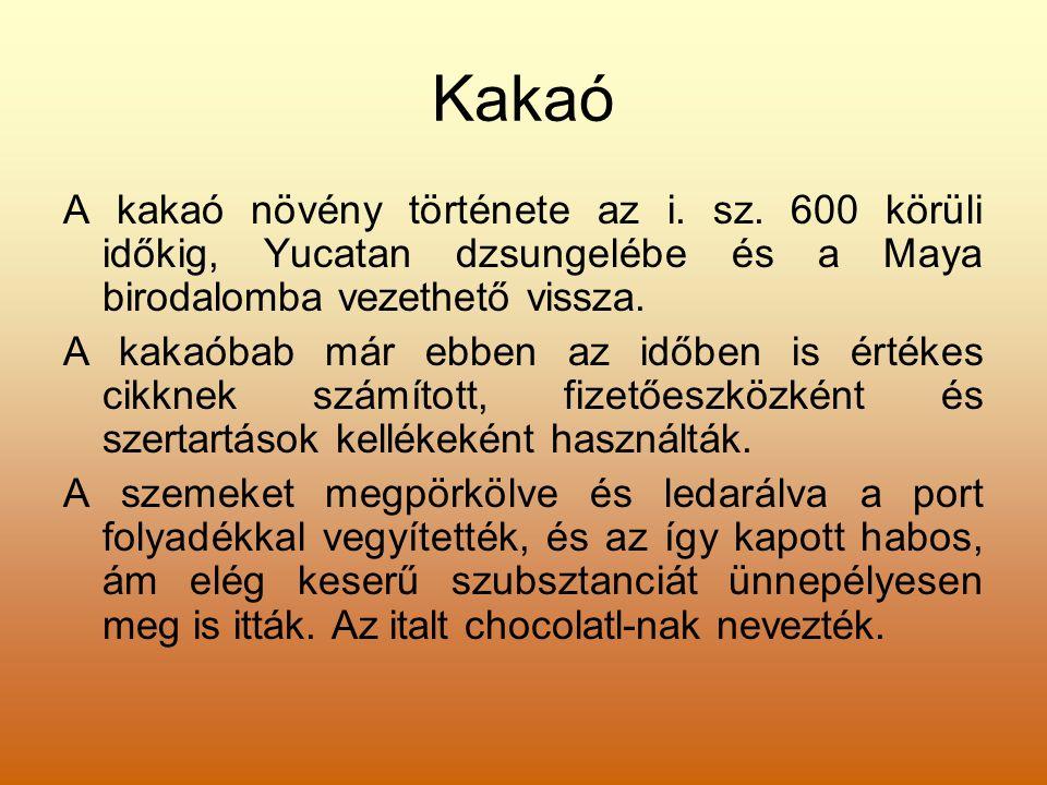 Kakaó A kakaó növény története az i. sz. 600 körüli időkig, Yucatan dzsungelébe és a Maya birodalomba vezethető vissza. A kakaóbab már ebben az időben