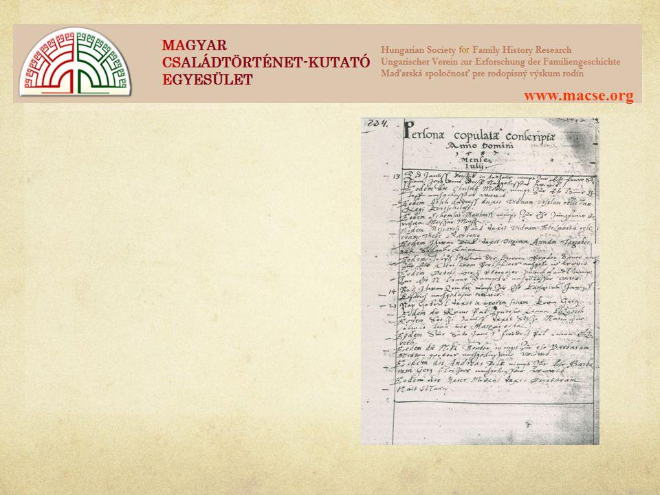 www.macse.org Segédletek anyakönyvek értelmezéséhez (pl.