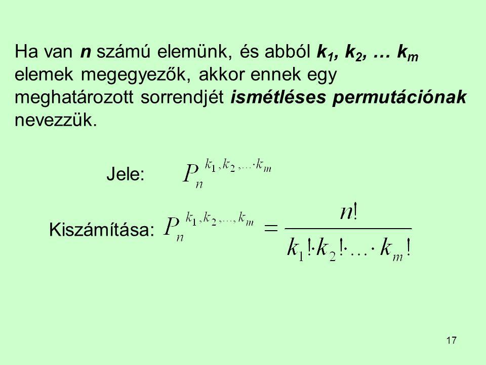 17 Ha van n számú elemünk, és abból k 1, k 2, … k m elemek megegyezők, akkor ennek egy meghatározott sorrendjét ismétléses permutációnak nevezzük. Jel
