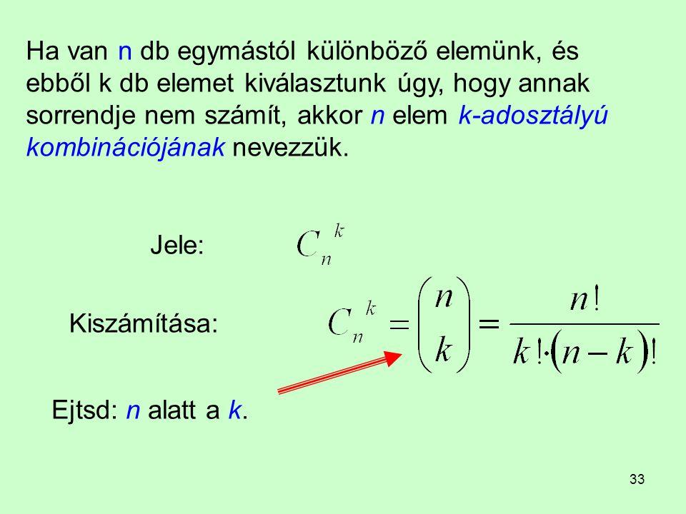 33 Ha van n db egymástól különböző elemünk, és ebből k db elemet kiválasztunk úgy, hogy annak sorrendje nem számít, akkor n elem k-adosztályú kombinác