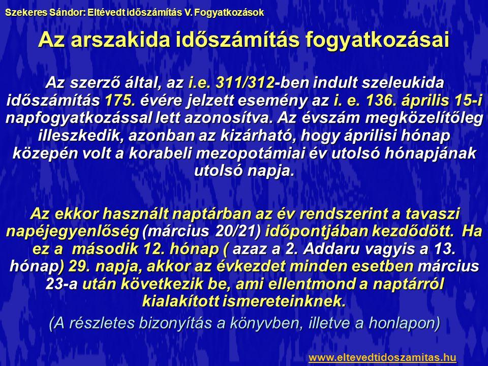 A napkelték időpontjai www.eltevedtidoszamitas.hu Szekeres Sándor: Eltévedt időszámítás V.