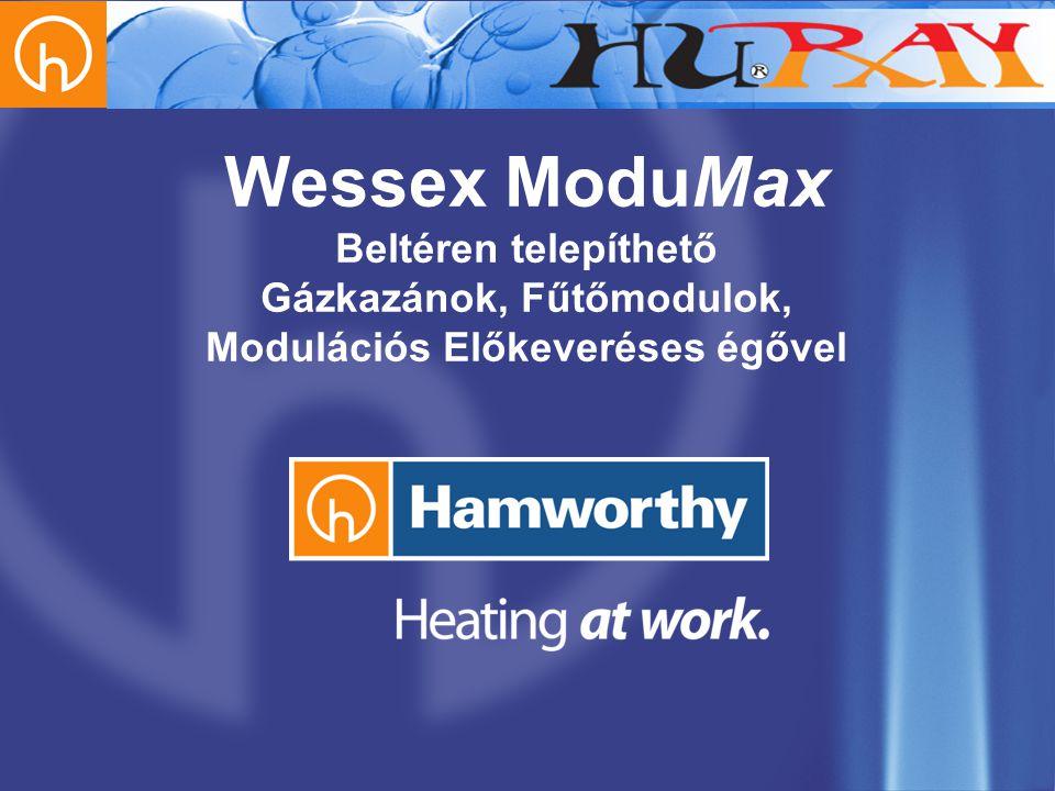 Wessex Modumax he Sorozatú Magas Hatásfokú Gázkazánok •Egyes vagy 2-3 szintben egymás fölé szerelt kivitelek •110-660 kW modulonként •Modulosan 2640 kW-ig bővíthető •3 alapméret 110, 160, & 220 kW egységteljesítmény •Alacsony károsanyag kibocsátás •NOx Osztály: 5 •Kiemelkedően magas hatásfok 94-97% teljes terhelésen •H típusú földgázról működhet •Visszatérő hőmérséklet minimum 50 C