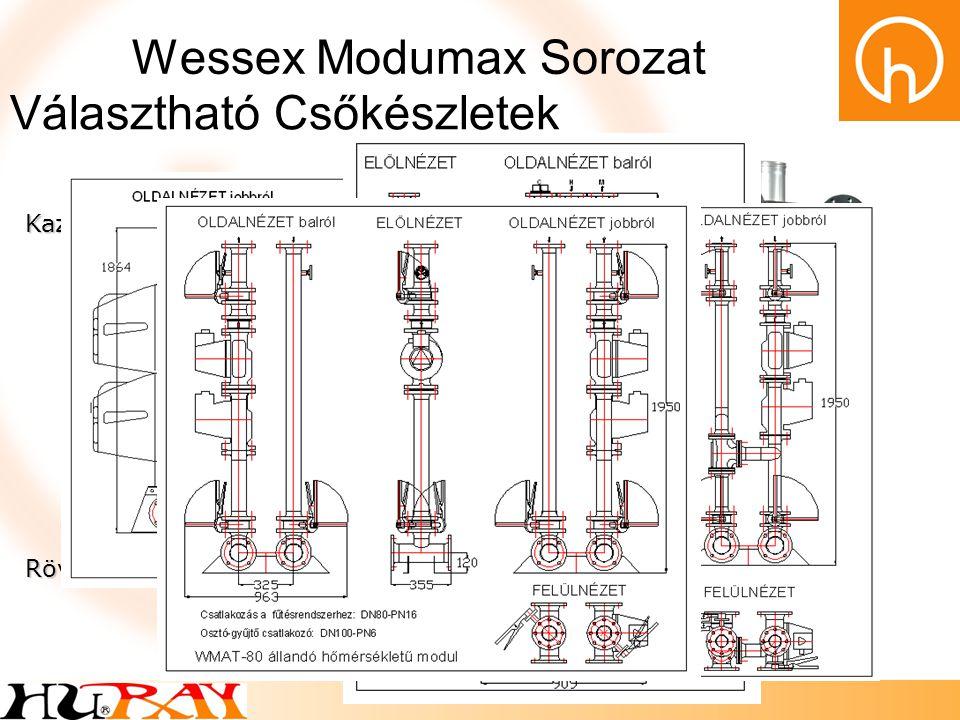 Wessex Modumax Sorozat Kazánköri és fűtésköri modulok HMV modul Szabadon álló kivitel Állítható lábak Rugalmas kazáncsatlakozók Beépített elzáró szere
