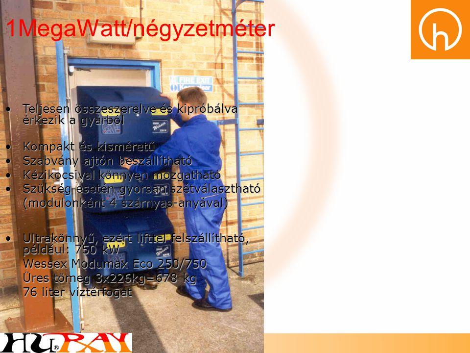1MegaWatt/négyzetméter •Teljesen összeszerelve és kipróbálva érkezik a gyárból •Kompakt és kisméretű •Szabvány ajtón beszállítható •Kézikocsival könny