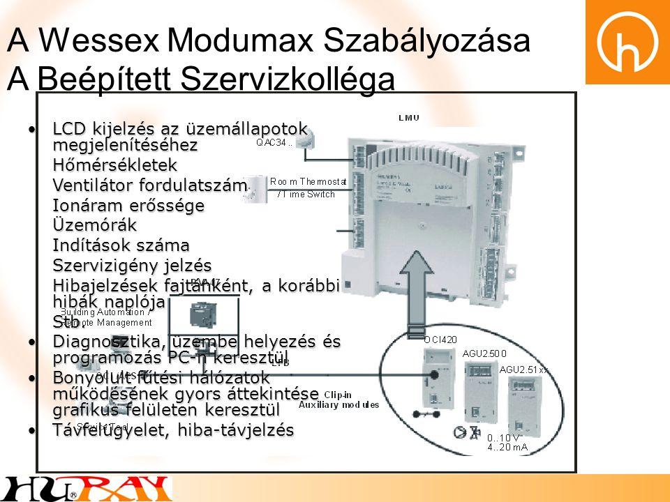 A Wessex Modumax Szabályozása Kész Séma Minden Esetre SIEMENS RVA és RVS típusú modulrendszerű kommunikációképes szabályozási hálózatok Kazánkaszkádok szabályozása 12 egységig Távolról történő engedélyezés/tiltás Primer-szivattyú vezérlés kazánonként Idegen szabályzók, légtechnikai berendezések indítójelzésének fogadása Épület-felügyeleti rendszerekhez integrálható