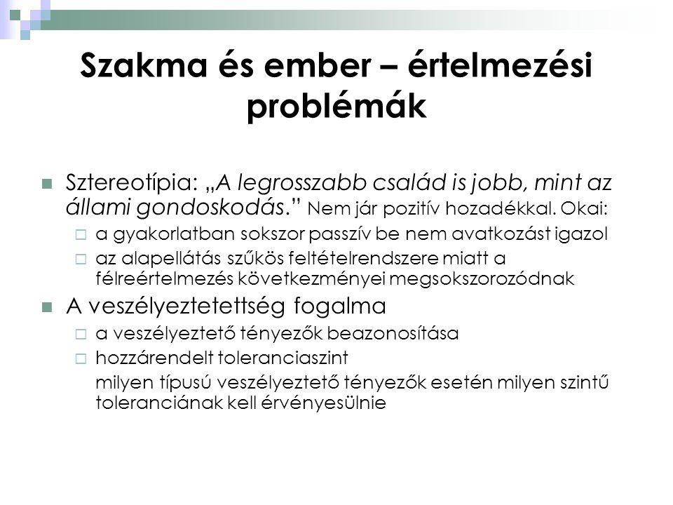 """Szakma és ember – értelmezési problémák  Sztereotípia: """"A legrosszabb család is jobb, mint az állami gondoskodás."""" Nem jár pozitív hozadékkal. Okai:"""