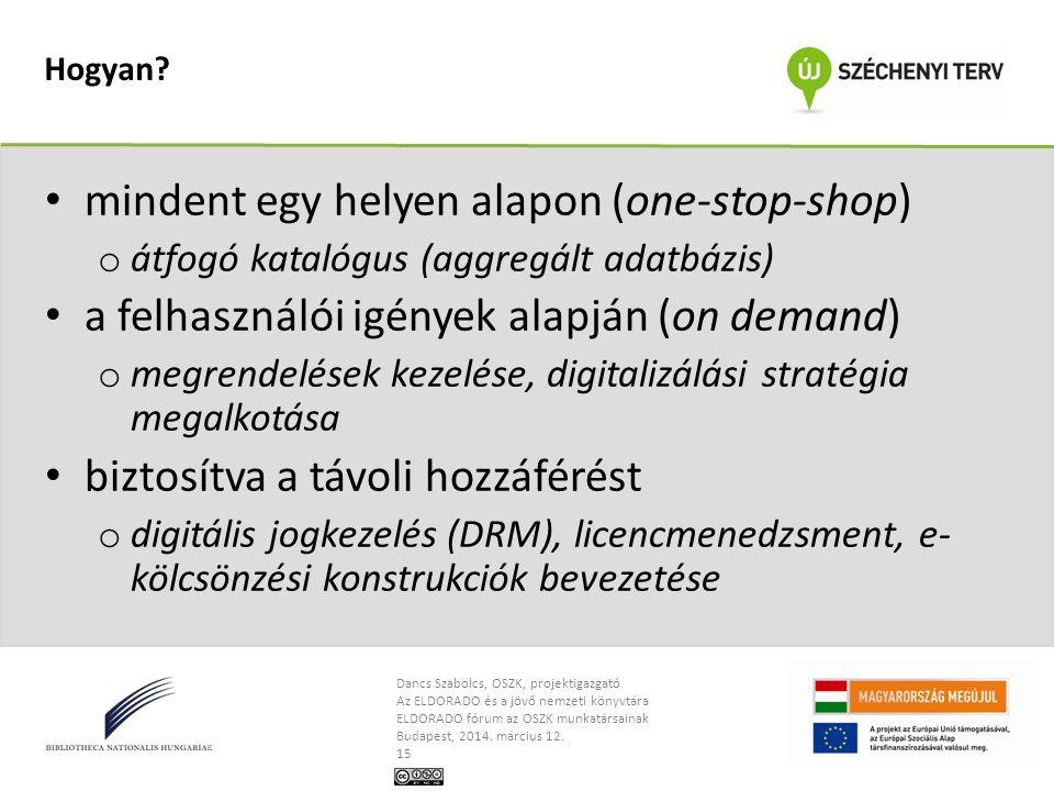Dancs Szabolcs, OSZK, projektigazgató Az ELDORADO és a jövő nemzeti könyvtára ELDORADO fórum az OSZK munkatársainak Budapest, 2014. március 12. 15 Hog