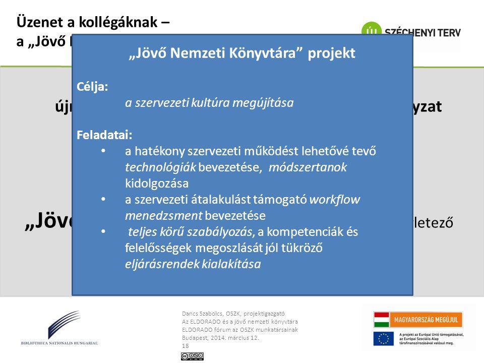 Dancs Szabolcs, OSZK, projektigazgató Az ELDORADO és a jövő nemzeti könyvtára ELDORADO fórum az OSZK munkatársainak Budapest, 2014. március 12. 18 Üze