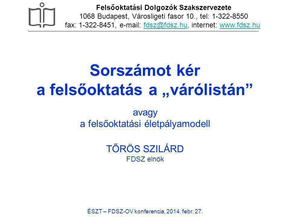"""Sorszámot kér a felsőoktatás a """"várólistán"""" ÉSZT – FDSZ-OV konferencia, 2014. febr. 27. TŐRÖS SZILÁRD FDSZ elnök Felsőoktatási Dolgozók Szakszervezete"""