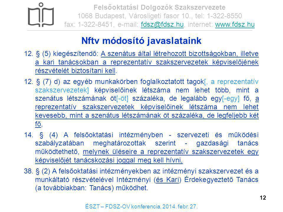 12 Nftv módosító javaslataink: 12 12. § (5) kiegészítendő: A szenátus által létrehozott bizottságokban, illetve a kari tanácsokban a reprezentatív sza
