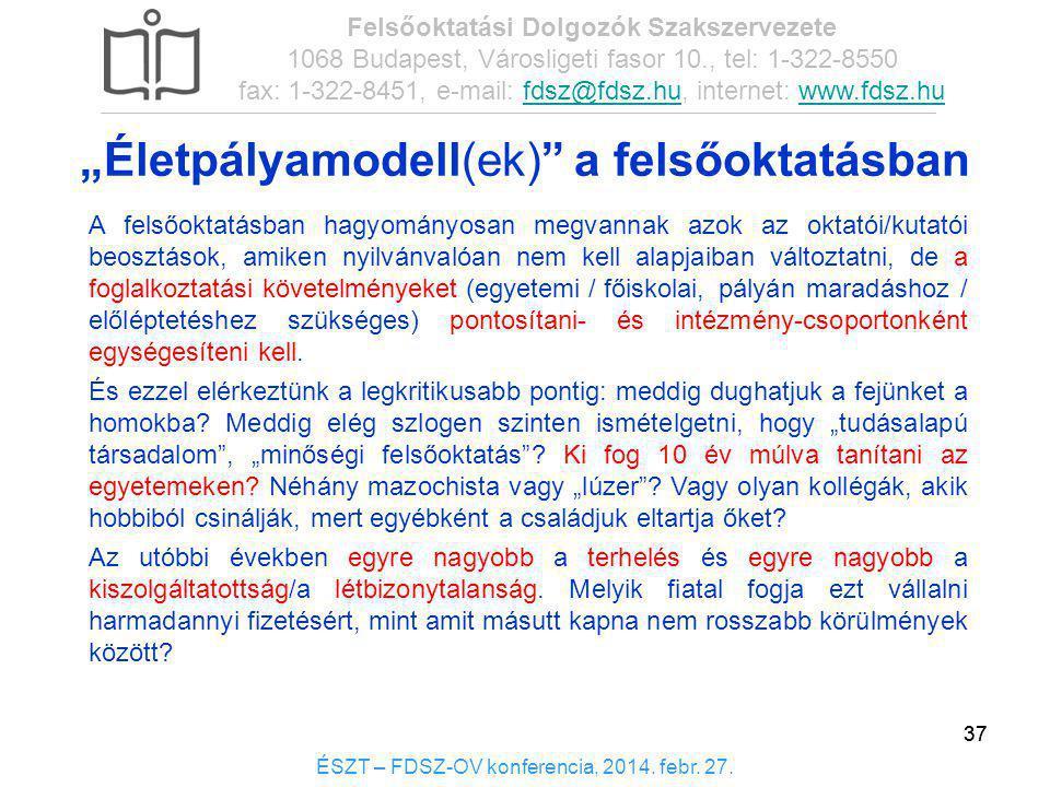 37 ÉSZT – FDSZ-OV konferencia, 2014. febr. 27. Felsőoktatási Dolgozók Szakszervezete 1068 Budapest, Városligeti fasor 10., tel: 1-322-8550 fax: 1-322-