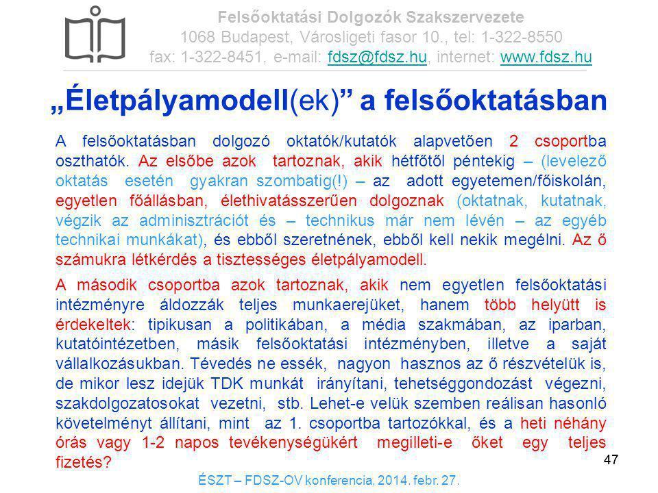 47 ÉSZT – FDSZ-OV konferencia, 2014. febr. 27. Felsőoktatási Dolgozók Szakszervezete 1068 Budapest, Városligeti fasor 10., tel: 1-322-8550 fax: 1-322-