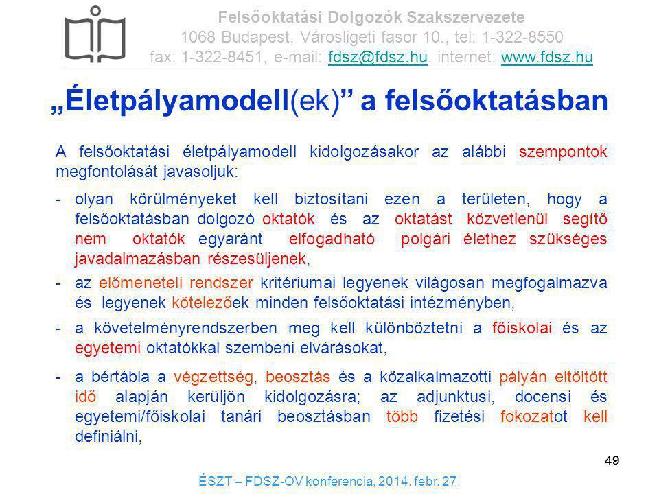 49 ÉSZT – FDSZ-OV konferencia, 2014. febr. 27. Felsőoktatási Dolgozók Szakszervezete 1068 Budapest, Városligeti fasor 10., tel: 1-322-8550 fax: 1-322-